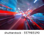 blurred urban look of the car... | Shutterstock . vector #557985190