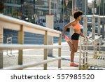 young fitness woman runner... | Shutterstock . vector #557985520