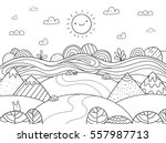 Cute Cartoon Meadow With...