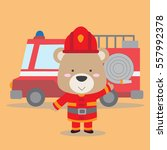 cute teddy bear in fire fighter ... | Shutterstock .eps vector #557992378