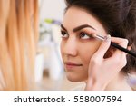 make up artist doing make up... | Shutterstock . vector #558007594