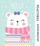 little teddy bear girl vector... | Shutterstock .eps vector #558013936