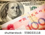 chinese yuan note and u.s.... | Shutterstock . vector #558033118