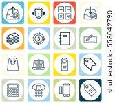 set of 16 e commerce icons.... | Shutterstock . vector #558042790