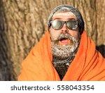 frozen excited man  bearded... | Shutterstock . vector #558043354