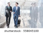 two westerner business men talk ... | Shutterstock . vector #558045100