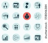 set of 16 administration icons. ... | Shutterstock . vector #558046384