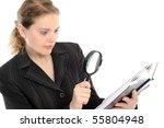 businesswoman looking the book... | Shutterstock . vector #55804948