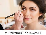 make up artist doing make up... | Shutterstock . vector #558062614