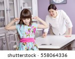 mother and daughter quarrel... | Shutterstock . vector #558064336