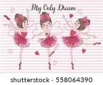 cute and romantic girls vector... | Shutterstock .eps vector #558064390