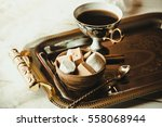 cups of hot coffee with... | Shutterstock . vector #558068944