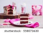 slice of a red velvet cake and... | Shutterstock . vector #558073630