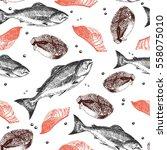 vector seamless pattern of... | Shutterstock .eps vector #558075010