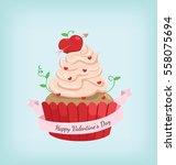 red cupcake in happy valentine...   Shutterstock .eps vector #558075694