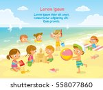 kids at the children's camp... | Shutterstock .eps vector #558077860