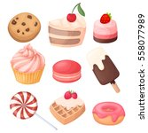 set of delicious sweets and... | Shutterstock .eps vector #558077989
