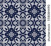 seamless blue japanese...   Shutterstock .eps vector #558084490