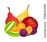 composition of juicy apple pear ... | Shutterstock .eps vector #558092398