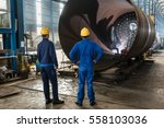 two experienced workers... | Shutterstock . vector #558103036