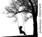 little girl on swing under a... | Shutterstock .eps vector #558107659