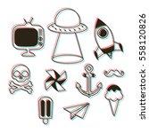 3d fun art patches   Shutterstock .eps vector #558120826