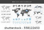 big set of maps and globes.... | Shutterstock .eps vector #558122653