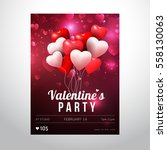 valentines day party flyer... | Shutterstock .eps vector #558130063