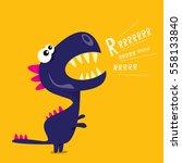 vector cartoon funny dragon.... | Shutterstock .eps vector #558133840
