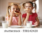 girls eat breakfast on the... | Shutterstock . vector #558142420
