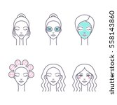 hair care and facial skin icon... | Shutterstock .eps vector #558143860