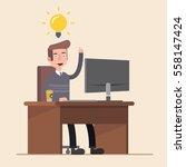 office worker  is happy with...   Shutterstock .eps vector #558147424