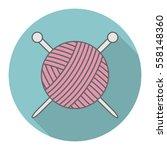 Stock vector vector icon logo ball of yarn with a shadow yarn icon handmade 558148360