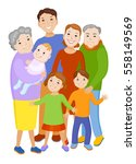 fun cartoon family in colorful... | Shutterstock .eps vector #558149569