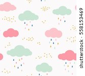 vector kids pattern with clouds ... | Shutterstock .eps vector #558153469