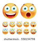 set of cute emoticons on white... | Shutterstock .eps vector #558154798