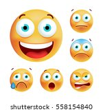 set of cute emoticons on white... | Shutterstock .eps vector #558154840