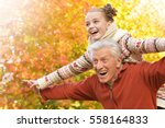 happy grandfather and... | Shutterstock . vector #558164833