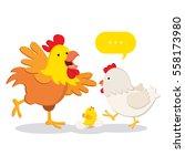 chicken family. vector... | Shutterstock .eps vector #558173980