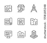 Set Line Icons Of Architectura...