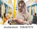 young beautiful caucasian... | Shutterstock . vector #558187573