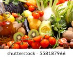 raw fruit and vegetable | Shutterstock . vector #558187966