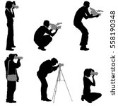 set cameraman with video camera.... | Shutterstock .eps vector #558190348