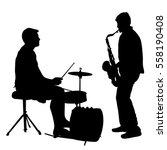 silhouette musician drummer on... | Shutterstock .eps vector #558190408