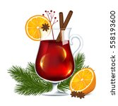 a glass of mulled wine on a... | Shutterstock .eps vector #558193600