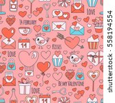 valentine day vector pattern... | Shutterstock .eps vector #558194554