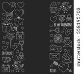 valentine day vector pattern... | Shutterstock .eps vector #558195703