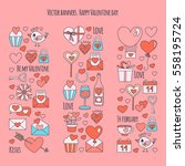 valentine day vector pattern... | Shutterstock .eps vector #558195724