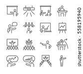 business presentation line icon ... | Shutterstock .eps vector #558195940