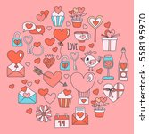 valentine day vector pattern... | Shutterstock .eps vector #558195970